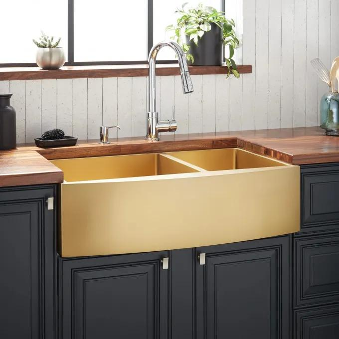 """36"""" Atlas 60/40 Offset Double-Bowl Stainless Steel Farmhouse Sink - Curved Apron - Matte Gold"""