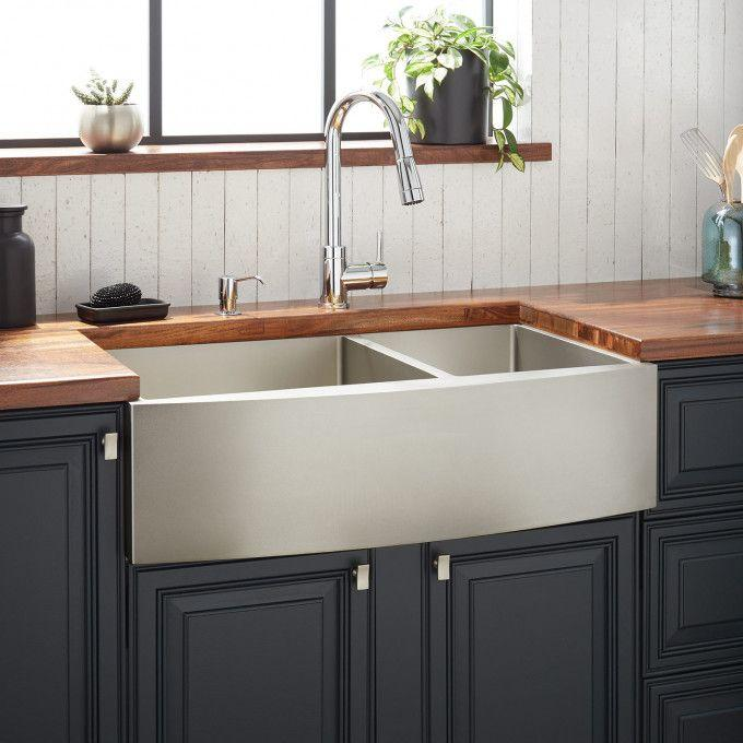 "36"" Atlas 60/40 Offset Double-Bowl Stainless Steel Farmhouse Sink - Curved Apron - Pewter"