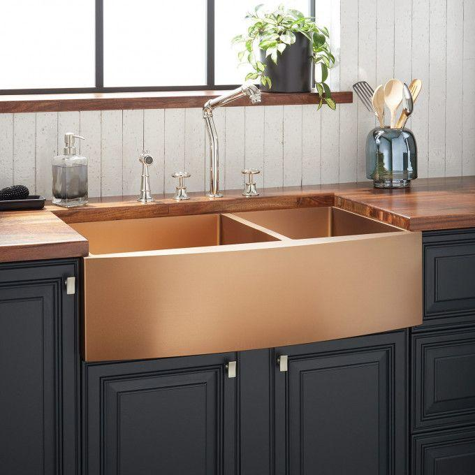"""36"""" Atlas 60/40 Offset Double-Bowl Stainless Steel Farmhouse Sink - Curved Apron - Bronze"""