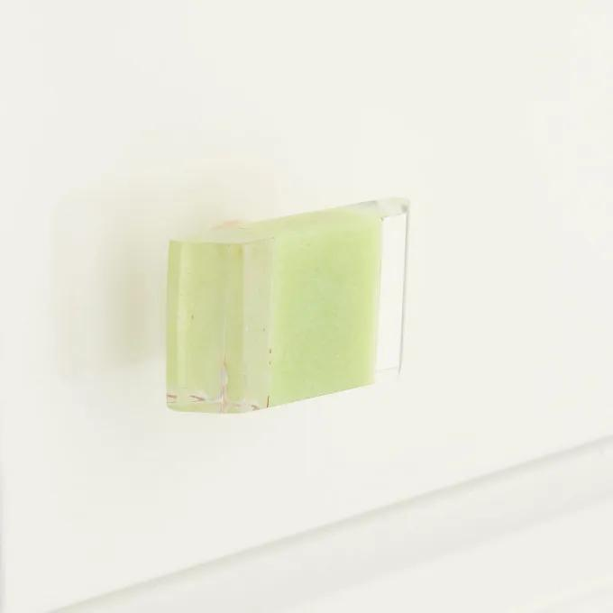 """Elongated Resin Cabinet Pull-1 3/4""""-Clear/Honeydew"""
