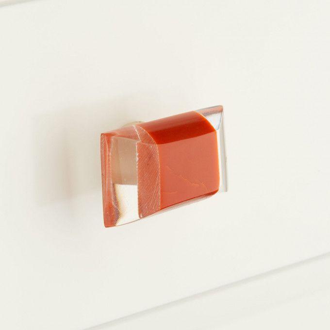 "Elongated Resin Cabinet Pull-1 3/4""-Clear/Orange"