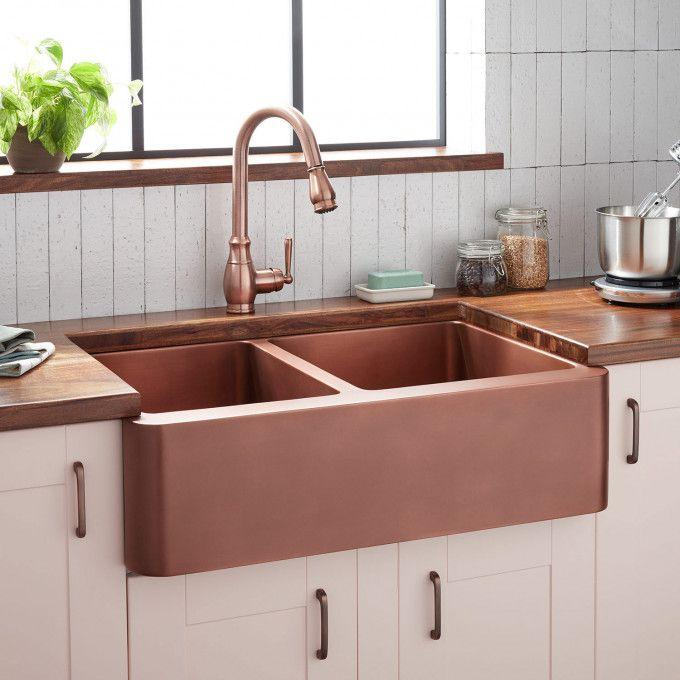 "33"" Aberdeen 60/40 Offset Double-Bowl Copper Farmhouse Sink"