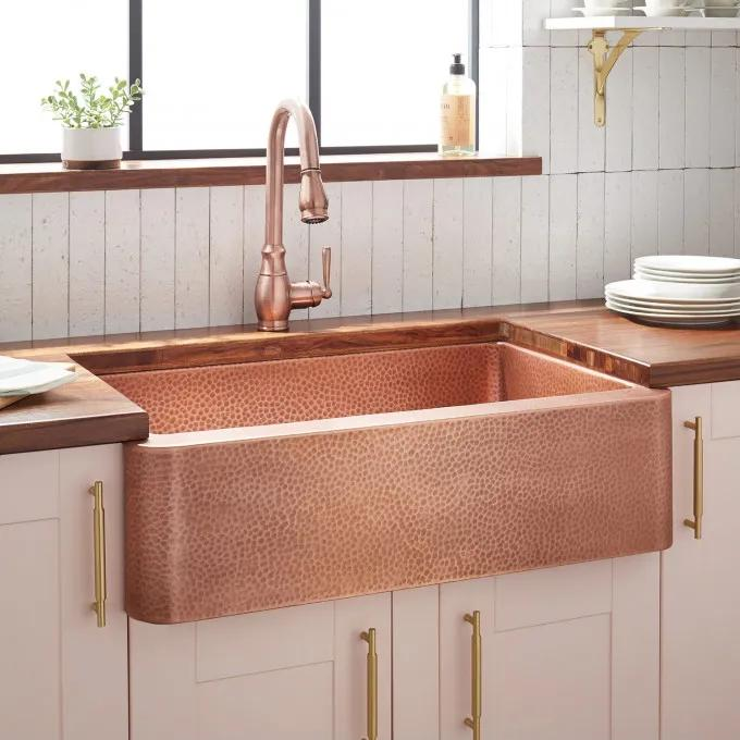 """30"""" Fiona Hammered Copper Farmhouse Sink"""