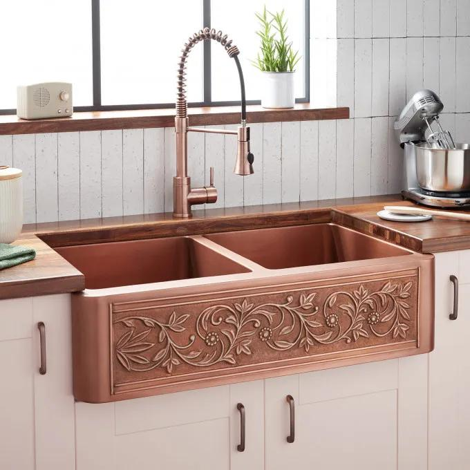"36"" Vine Design Double-Bowl Copper Farmhouse Sink"