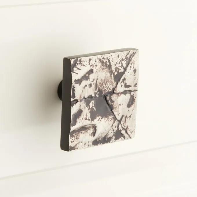 Leaf Pattern Solid Brass Square Cabinet Knob