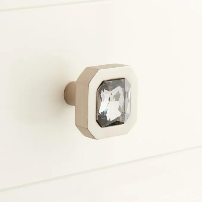 Frayser Brass Cabinet Knob with Smoked Glass Inlay - Brushed Nickel