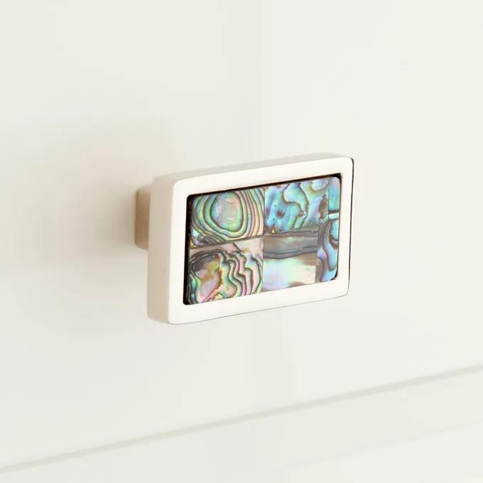 Kumano Rectangular Green Mother of Pearl Cabinet Knob