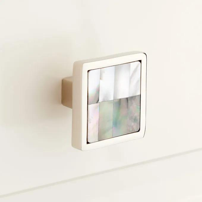 Kumano Square Black Mother of Pearl Cabinet Knob