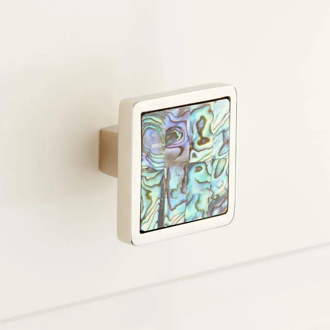 Kumano Square Green Mother of Pearl Cabinet Knob
