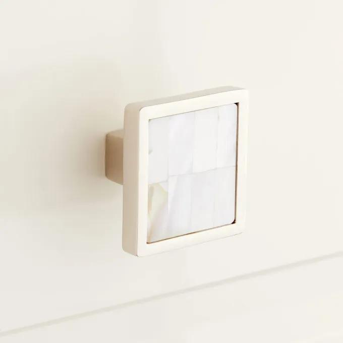 Kumano Square Mother of Pearl Cabinet Knob - White