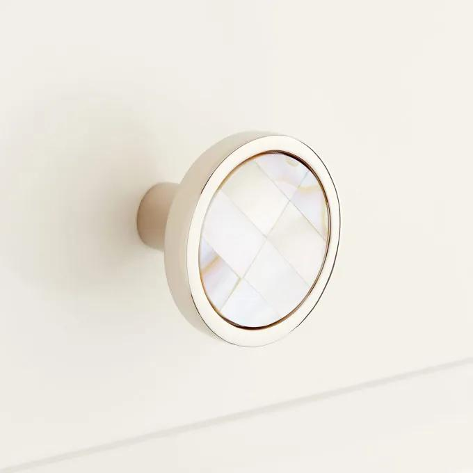 Kumano Round Mother of Pearl Cabinet Knob - White