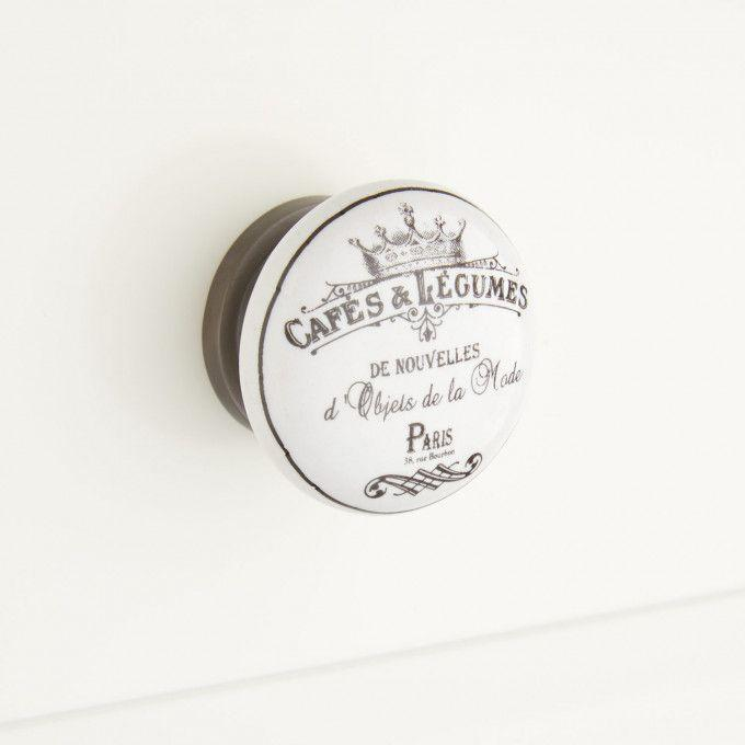French Cafe Round Porcelain Cabinet Knob