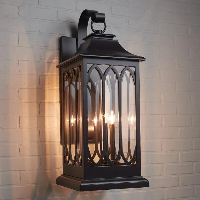 Stonehouse 3-Light Candelabra Outdoor Entrance Wall Sconce - Smooth Bronze