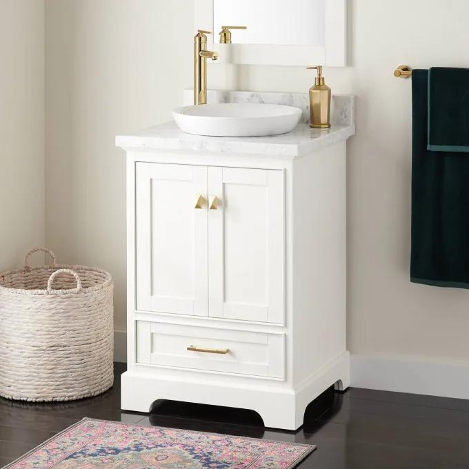 "24"" Quen Vanity for Semi-Recessed Sink - White"