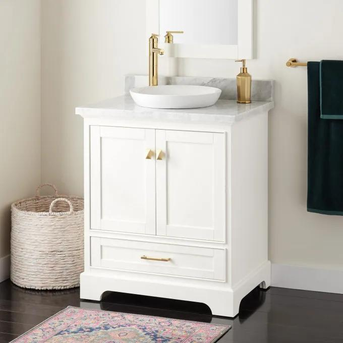 "30"" Quen Vanity for Semi-Recessed Sink - White"
