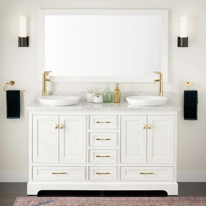"""60"""" Quen Double Vanity for Semi-Recessed Sinks - White"""