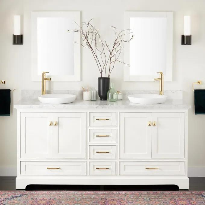 """72"""" Quen Double Vanity for Semi-Recessed Sinks - Soft White"""