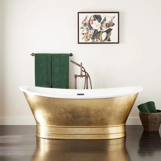 "68"" Desborough Acrylic Freestanding Double-Slipper Tub - Gold Leaf"