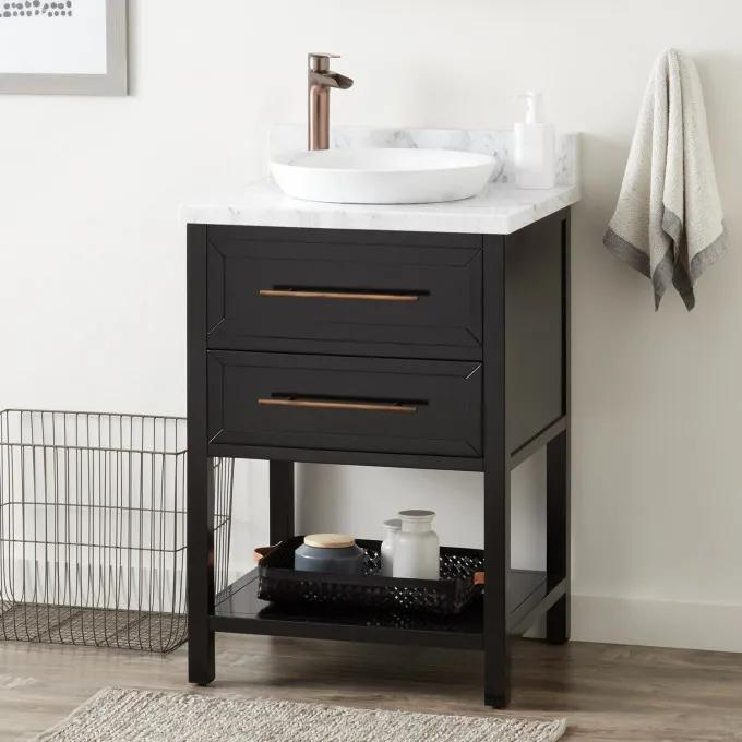 "24"" Robertson Console Vanity for Semi-Recessed Sink - Black"