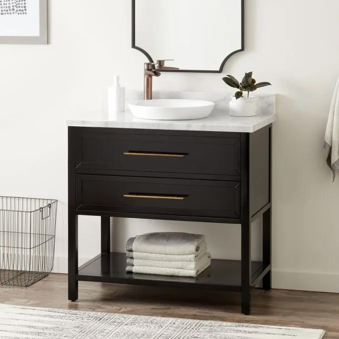 """36"""" Robertson Console Vanity for Semi-Recessed Sink - Black"""
