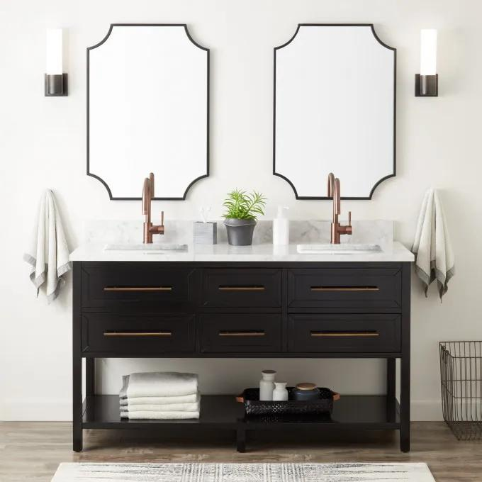 "60"" Robertson Double Console Vanity for Rectangular Undermount Sinks - Black"