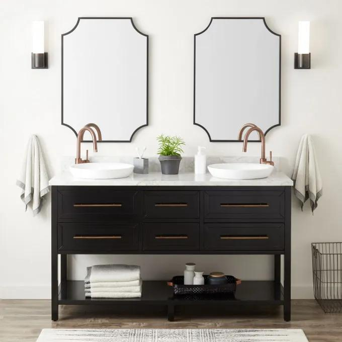 """60"""" Robertson Double Console Vanity for Semi-Recessed Sinks - Black"""