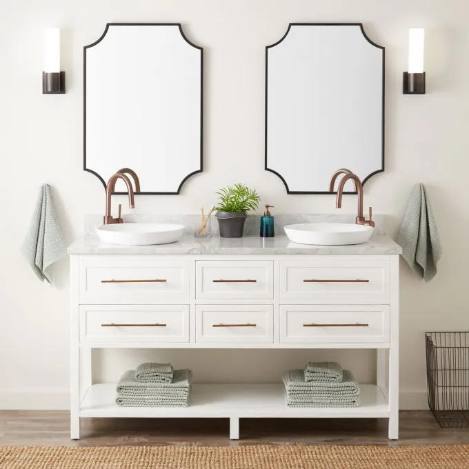 "60"" Robertson Double Vanity for Semi-Recessed Sinks - White"