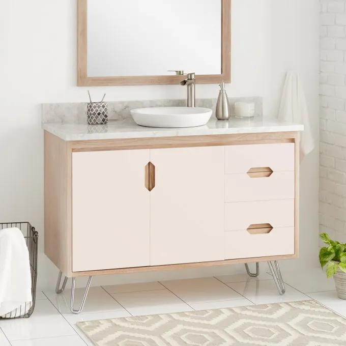 "48"" Millie Teak Vanity for Semi-Recessed Sink - Blush/Whitewash"