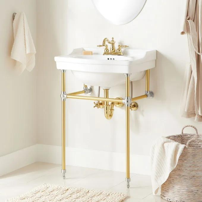"24"" Cierra Console Sink with Brass Stand - Polished Brass legs/Chrome Knuckes"