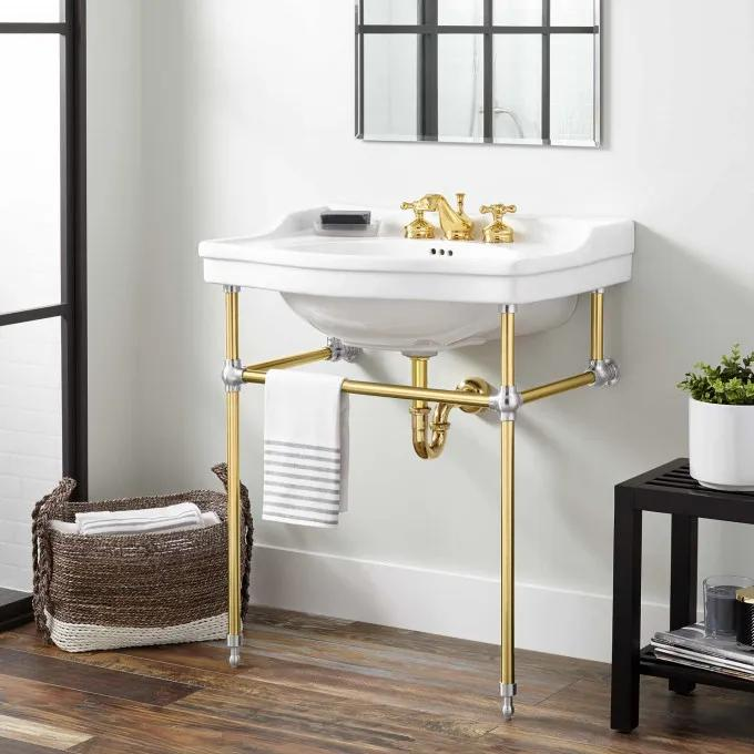 """30"""" Cierra Console Sink with Brass Stand - Polished Brass/Chrome"""