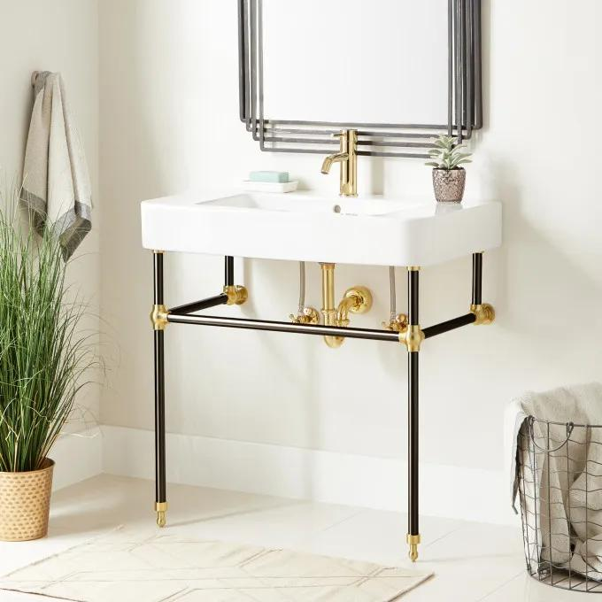 """34"""" Burleson Porcelain Console Sink with Brass Stand - Black/Polished Brass"""