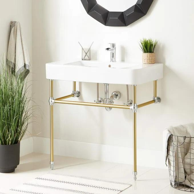 """34"""" Burleson Porcelain Console Sink with Brass Stand - Polished Brass/Chrome"""
