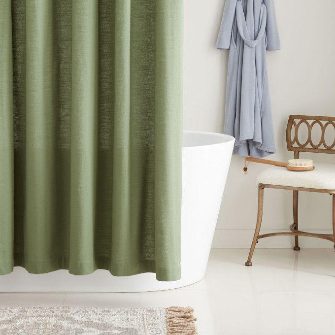 Cotton Shower Curtain - Olive Green