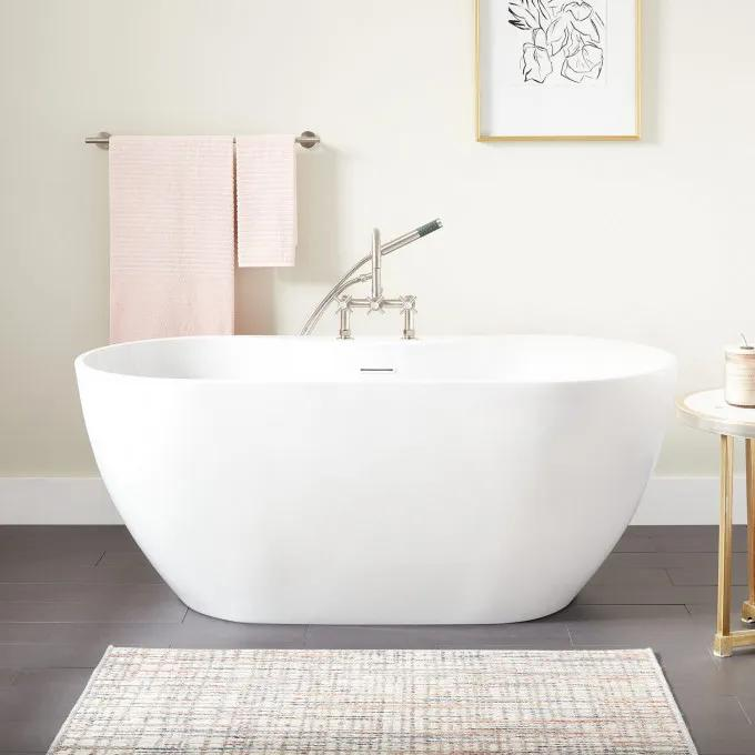Hibiscus Oval Acrylic Freestanding Tub - Tap Deck