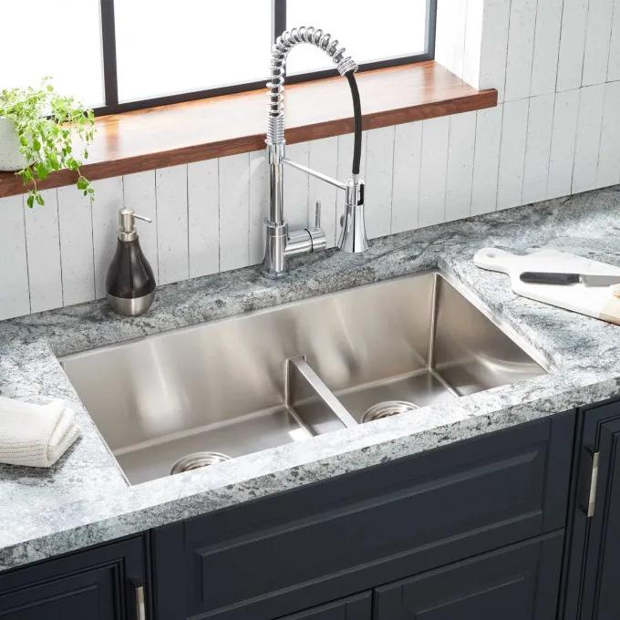 """32"""" Ortega Low-Divide Double-Bowl Stainless Steel Undermount Sink - Small Bowl Left"""