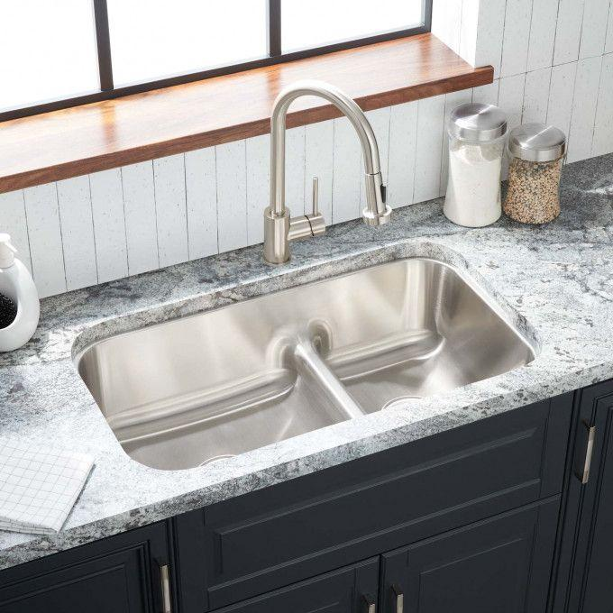 """32"""" Calverton 60/40 Low-Divide Double-Bowl Stainless Steel Undermount Sink"""