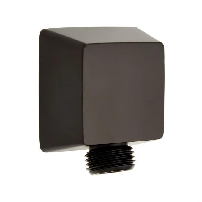 Contemporary Square Water Supply Elbow for Hand Shower - Matte Black