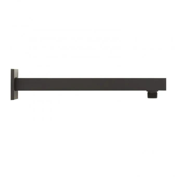 Modern Square Wall-Mount Shower Arm with Flange - Matte Black