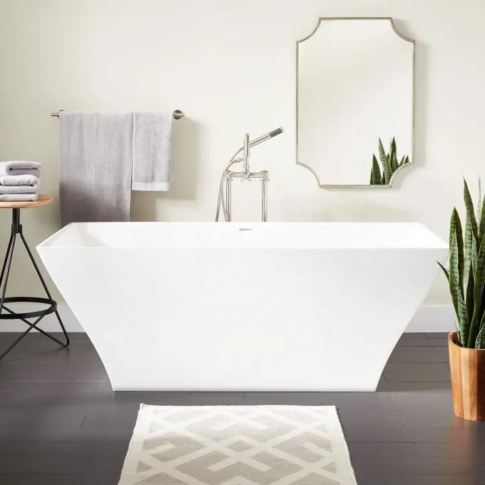 """66"""" Carraway Solid Surface Freestanding Tub - Gloss Finish"""
