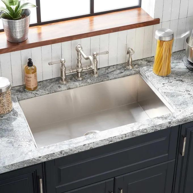 "33"" Sitka Stainless Steel Undermount Kitchen Sink - 4-Hole"