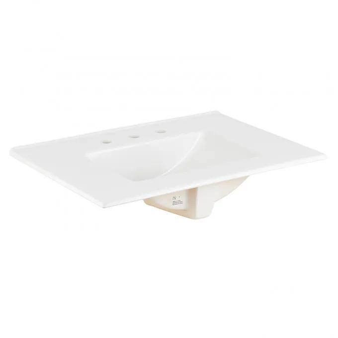 """Fireclay Vanity Top with Integral Undermount Sink - 8"""" Widespread - White"""