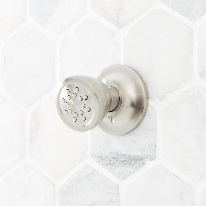 Traditional Round Swivel Body Spray - Brushed Nickel