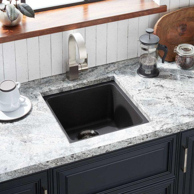 "17"" Totten Granite Composite Undermount Prep Sink - Black"