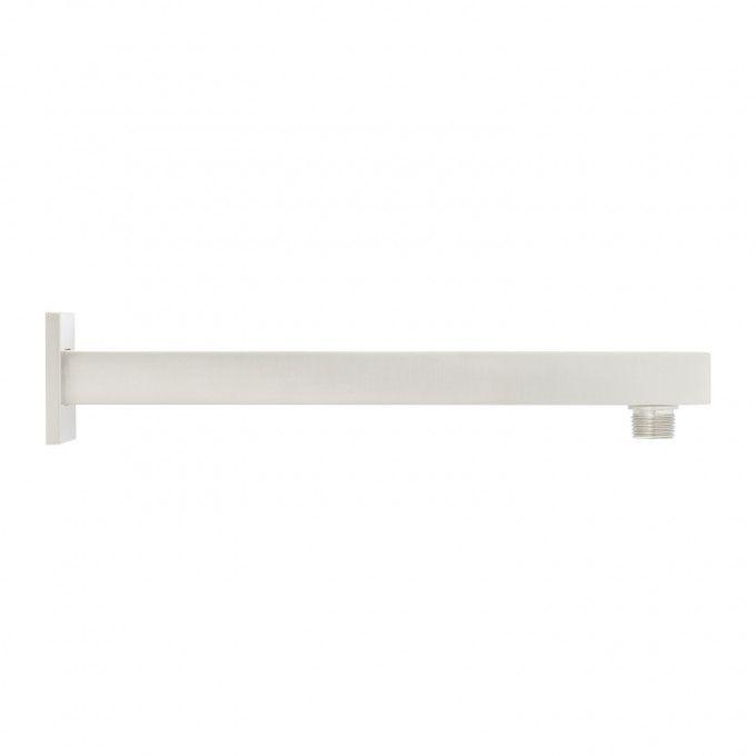 Modern Square Wall-Mount Shower Arm with Flange - Brushed Nickel