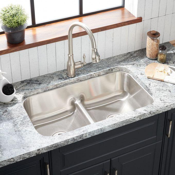 """32"""" Cypress Double-Bowl Stainless Steel Undermount Sink"""