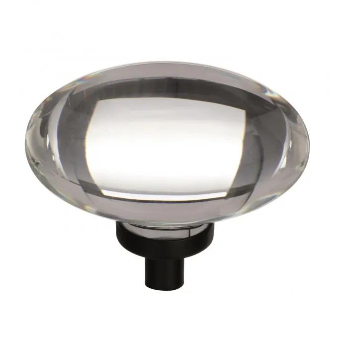 Kazina Oval Cabinet Knob - Clear/Black Bronze