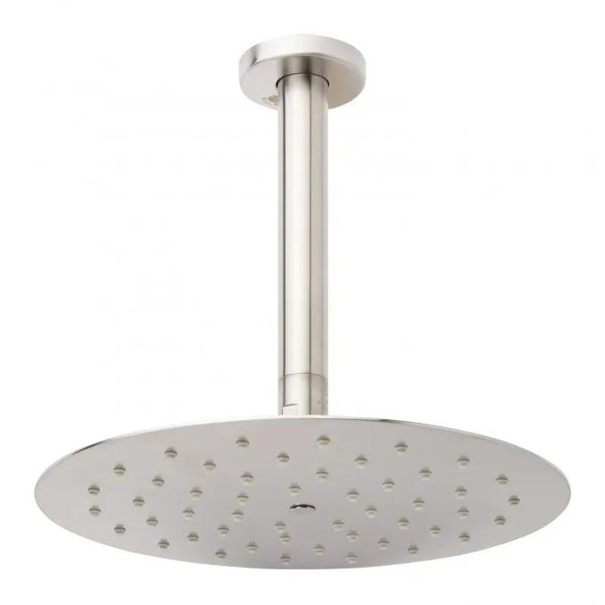 Contemporary Low Profile Shower Head with Ceiling-Mount Arm - Brushed Nickel