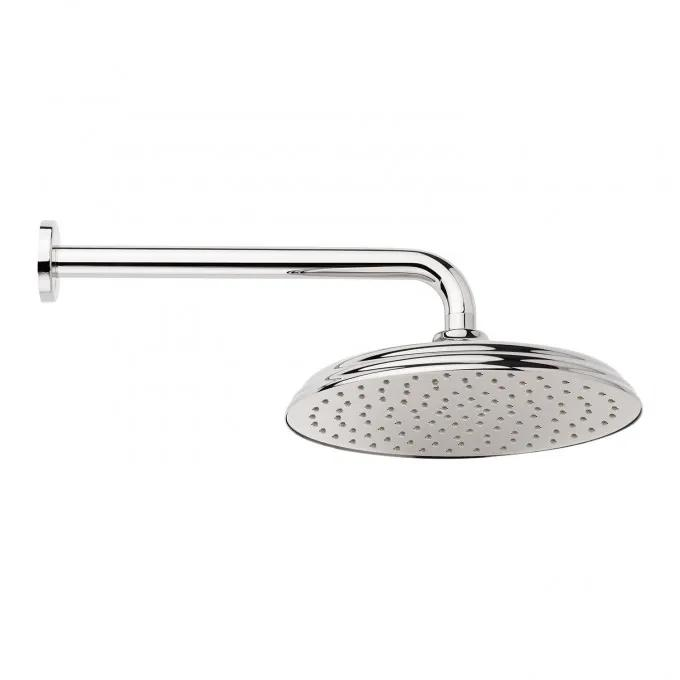 Traditional Round Rainfall Shower Head with Extended Shower Arm - Chrome