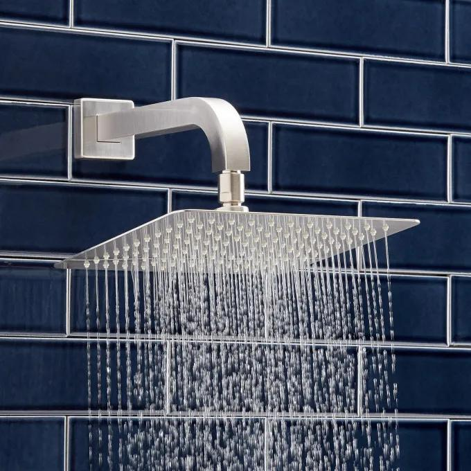 Modern Square Rainfall Shower Head with Curved Wall-Mount Arm - Brushed Nickel