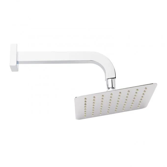 Modern Square Rainfall Shower Head with Curved Wall-Mount Arm - Chrome
